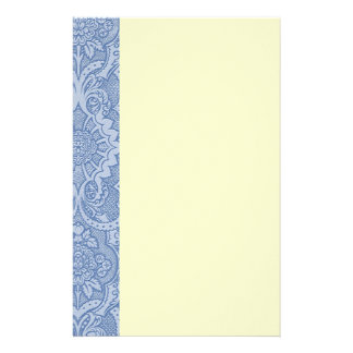 Bleu de dentelle élégant papier à lettre customisable