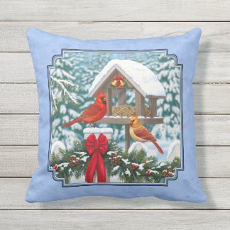 Bleu de festin de Noël de cardinaux Coussin Décoratif