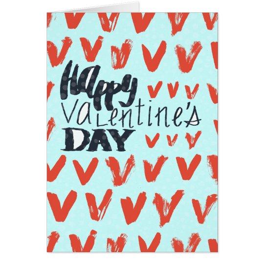 Bleu de heureuse Sainte-Valentin avec les coeurs Carte De Vœux
