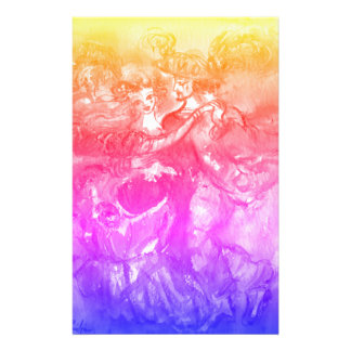 Bleu de jaune de rose de danseurs de mascarade de papier à lettre