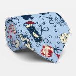 Bleu de jeu de casino de Vegas de vivats rétro Cravate