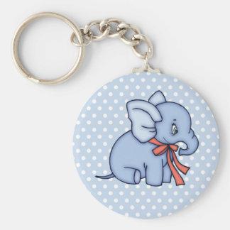 Bleu de jouet d'éléphant porte-clé rond