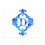 Bleu de la lettre D Carte Postale