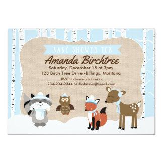 Bleu de l'invitation | de baby shower d'animaux de carton d'invitation  11,43 cm x 15,87 cm