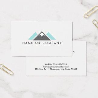 Bleu de logo de colline ou de montagne, gris et cartes de visite