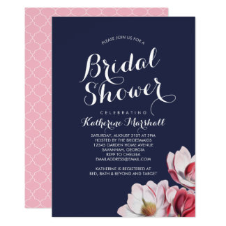 Bleu de minuit de douche nuptiale de magnolia du carton d'invitation  12,7 cm x 17,78 cm