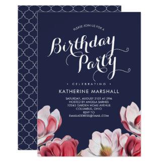 Bleu de minuit de fête d'anniversaire de magnolia carton d'invitation  12,7 cm x 17,78 cm