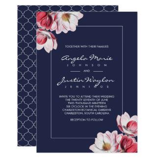 Bleu de minuit de mariage de magnolia du sud carton d'invitation  12,7 cm x 17,78 cm