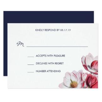 Bleu de minuit de mariage de magnolia du sud carton d'invitation 8,89 cm x 12,70 cm
