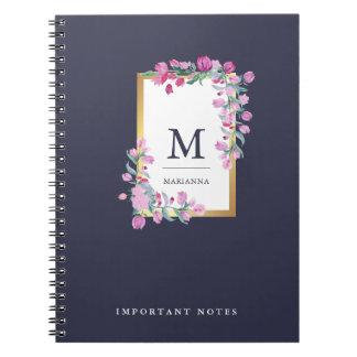 Bleu de minuit, or et fleurs roses d'aquarelle carnets