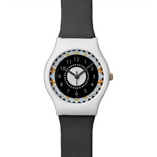 Bleu de montre d'art de motif de fleurs