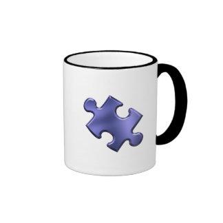 Bleu de morceau de puzzle d'autisme mug ringer