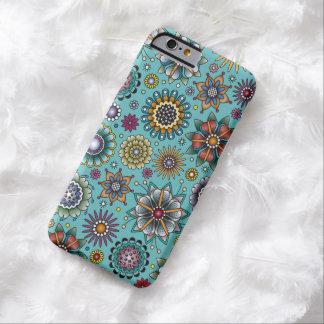 Bleu de motif de griffonnage de fleur de style de coque iPhone 6 barely there