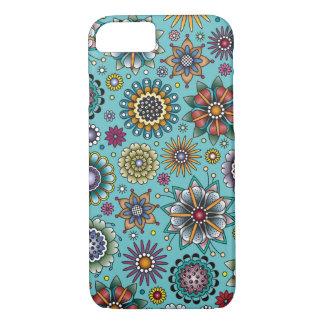 Bleu de motif de griffonnage de fleur de style de coque iPhone 7