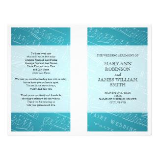 Bleu de musique de feuille de programme de mariage prospectus 21,6 cm x 24,94 cm