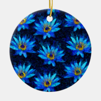 bleu de nénuphar de Van Gogh Ornement Rond En Céramique
