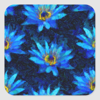 bleu de nénuphar de Van Gogh Sticker Carré