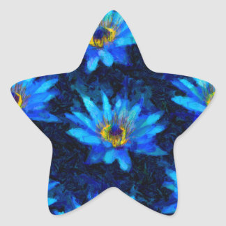 bleu de nénuphar de Van Gogh Sticker Étoile