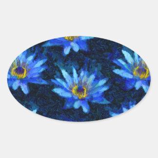 bleu de nénuphar de Van Gogh Sticker Ovale