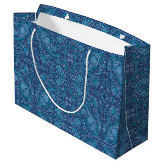Bleu de Paisley de sac de cadeau