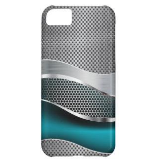 Bleu de paon futuriste de pointe de chrome de coque iPhone 5C