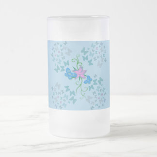 Bleu de papillon frosted glass beer mug