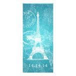 Bleu de Paris romantique de menu élégant de mariag Faire-part Personnalisé