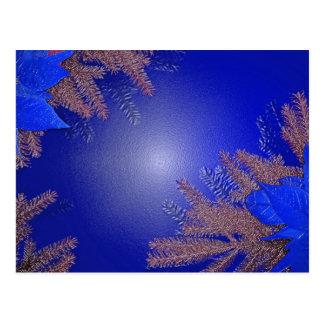 Bleu de poinsettia de Noël Carte Postale
