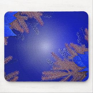Bleu de poinsettia de Noël Tapis De Souris