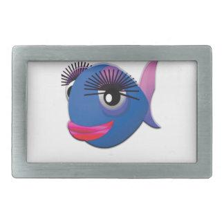 bleu de poissons de reine ouais boucles de ceinture rectangulaires