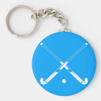 Bleu de porte - clé de silhouette d'hockey de porte-clé rond