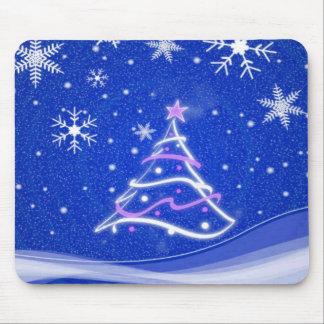 Bleu de scène de forêt de plein hiver tapis de souris