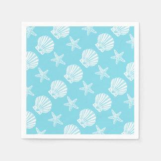 Bleu de thème de plage de coquille d'étoiles de serviette jetable