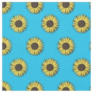 bleu de tissu de motif de tournesol
