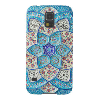 Bleu de turquoise marocain traditionnel, blanc, protections galaxy s5