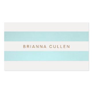 Bleu de turquoise rayé chic simple élégant carte de visite standard