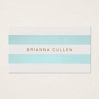 Bleu de turquoise rayé chic simple élégant cartes de visite