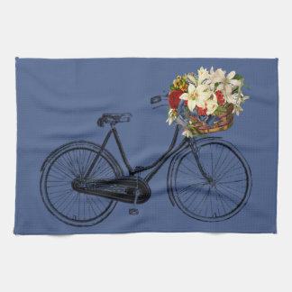 Bleu de vélo de fleur de bicyclette de serviette