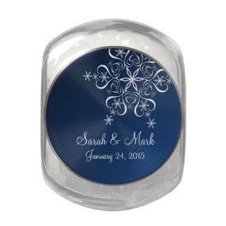 Bleu d'élégance de flocon de neige pot de bonbons jelly belly