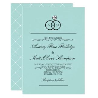 Bleu des oeufs de Robin - anneaux enclenchés - Carton D'invitation 12,7 Cm X 17,78 Cm