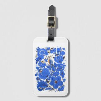 Bleu d'étiquette de bagage d'art populaire de étiquette à bagage