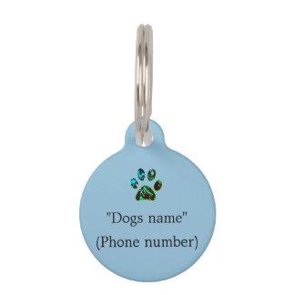Bleu d'étiquette de chien médaillon pour animaux