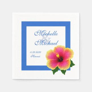 Bleu d'événement de mariage de fleur de ketmie serviette en papier