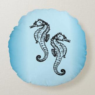 Bleu d'hippocampe coussins ronds