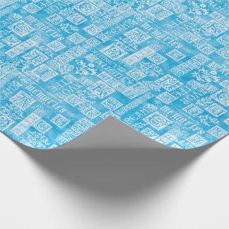 Bleu d'hiver de vers de conception de Flourish Papier Cadeau