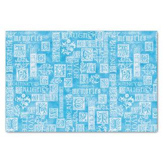 Bleu d'hiver de vers de conception de Flourish Papier Mousseline