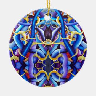 Bleu d'illusion optique ornement rond en céramique