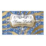 Bleu d'or de zèbre de carte de visite de bijoux d'