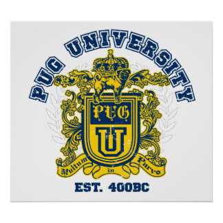 Bleu d'université de carlin et affiche d'or