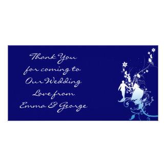 Bleu élégant de cartes photos de Merci de mariage Photocartes